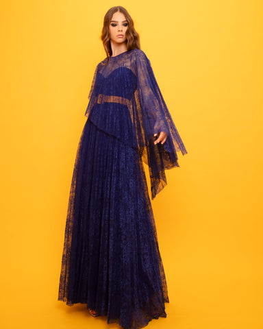 Flared lace Long Dress With Detachable Belt