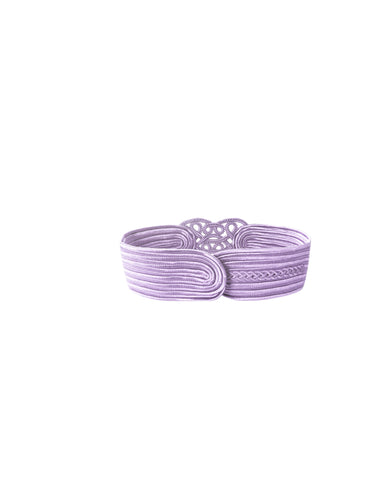 Knitted Lilac Grey Belt With Cut-Outs