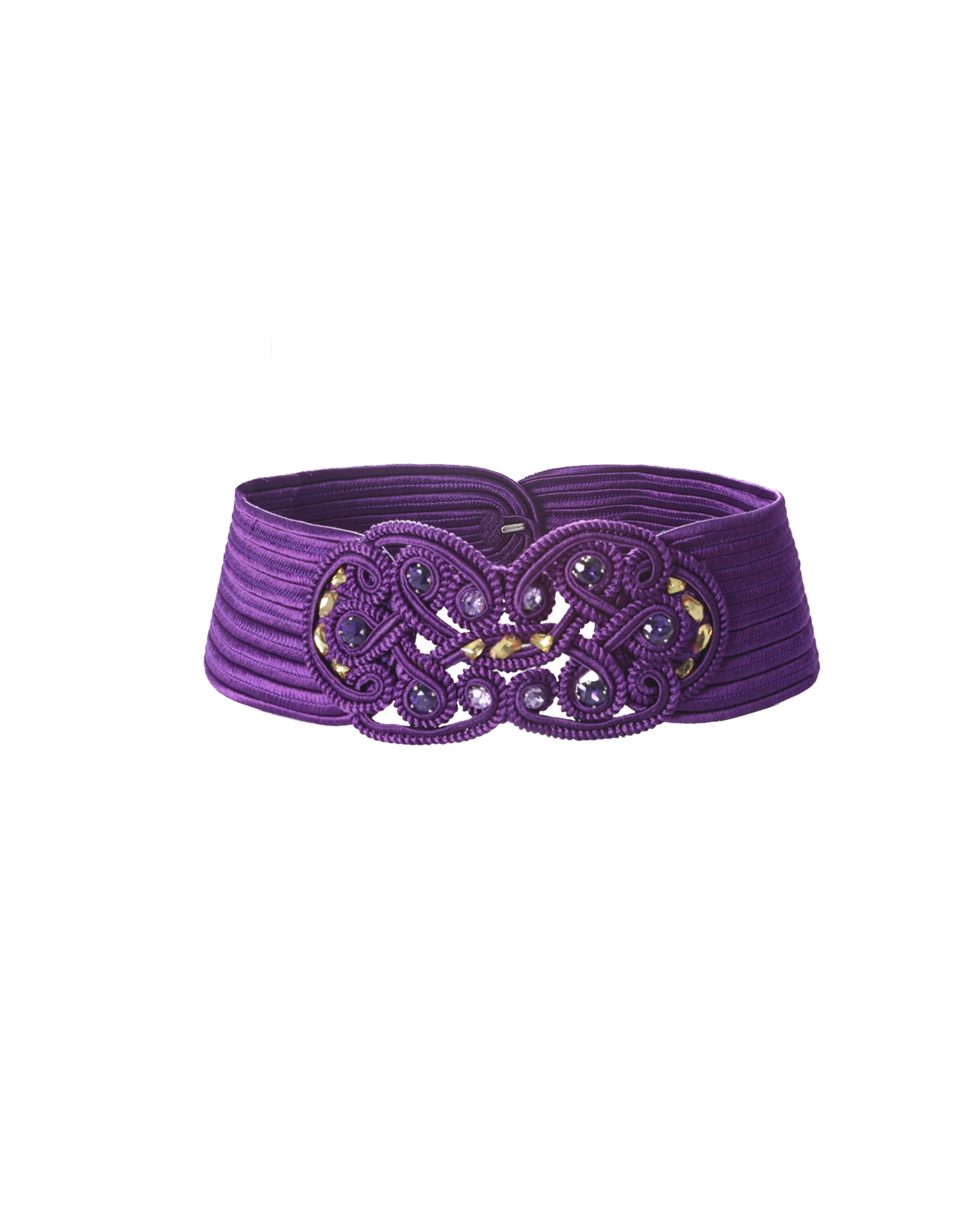 Knitted Mauve Belt With Stones