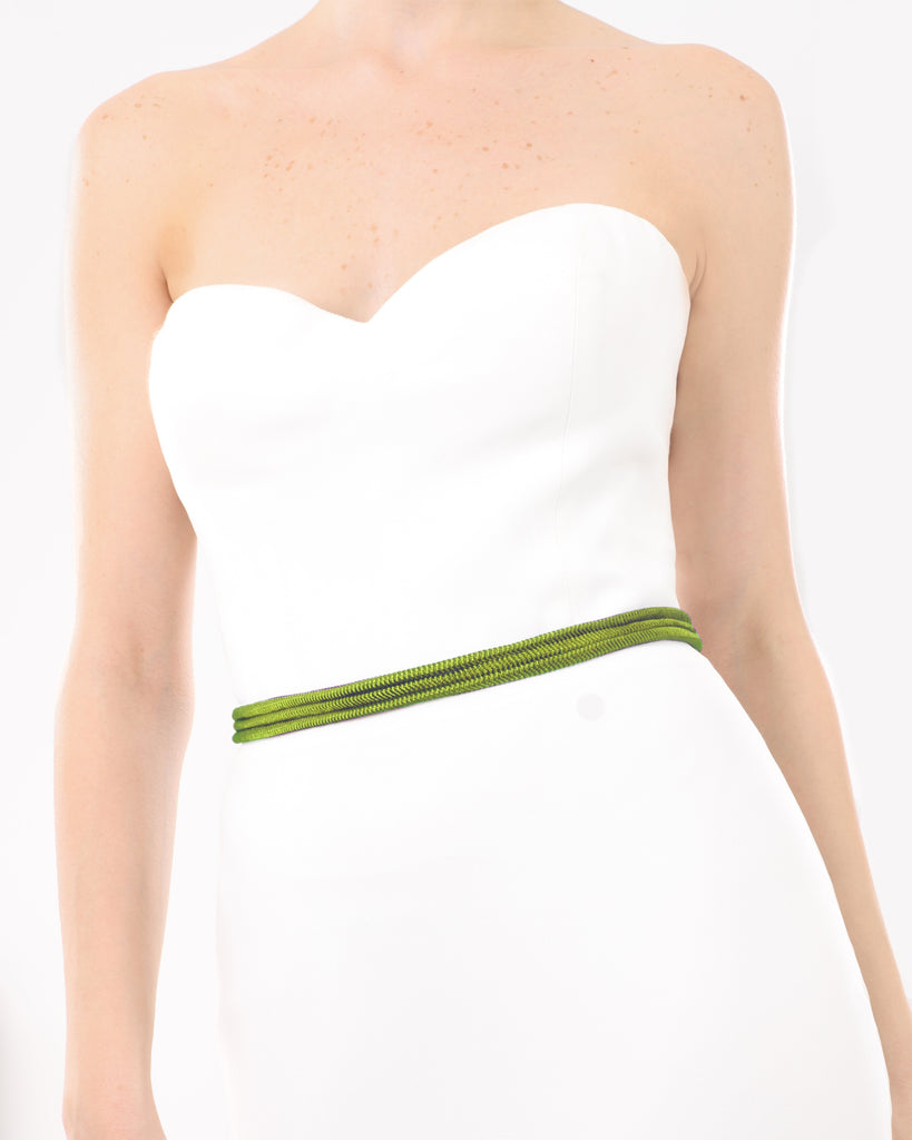 Wraparound Lime Belt With Tassels
