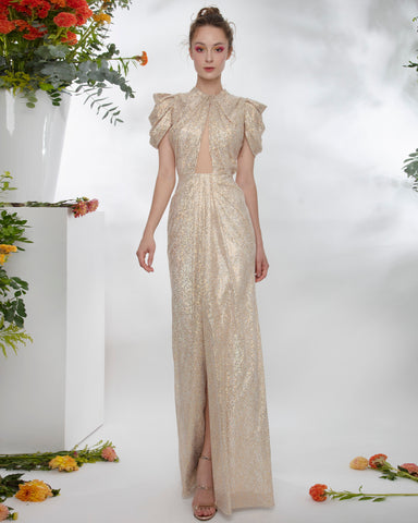 Shimmery Draped Long Dress