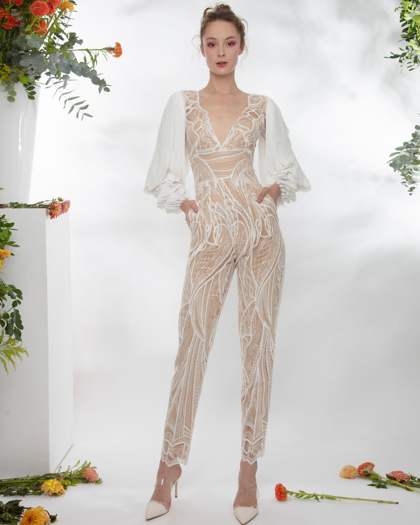 Jumpsuit With Laser-Cut Sleeves