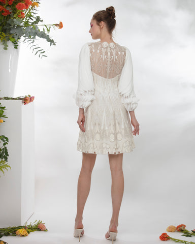 Fully Embroidered Short Dress