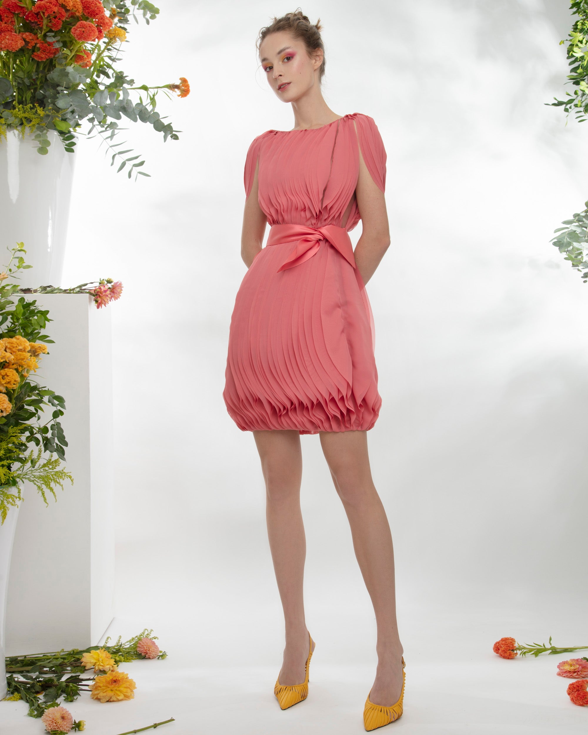 3D Chiffon Short Dress  With Detachable Belt