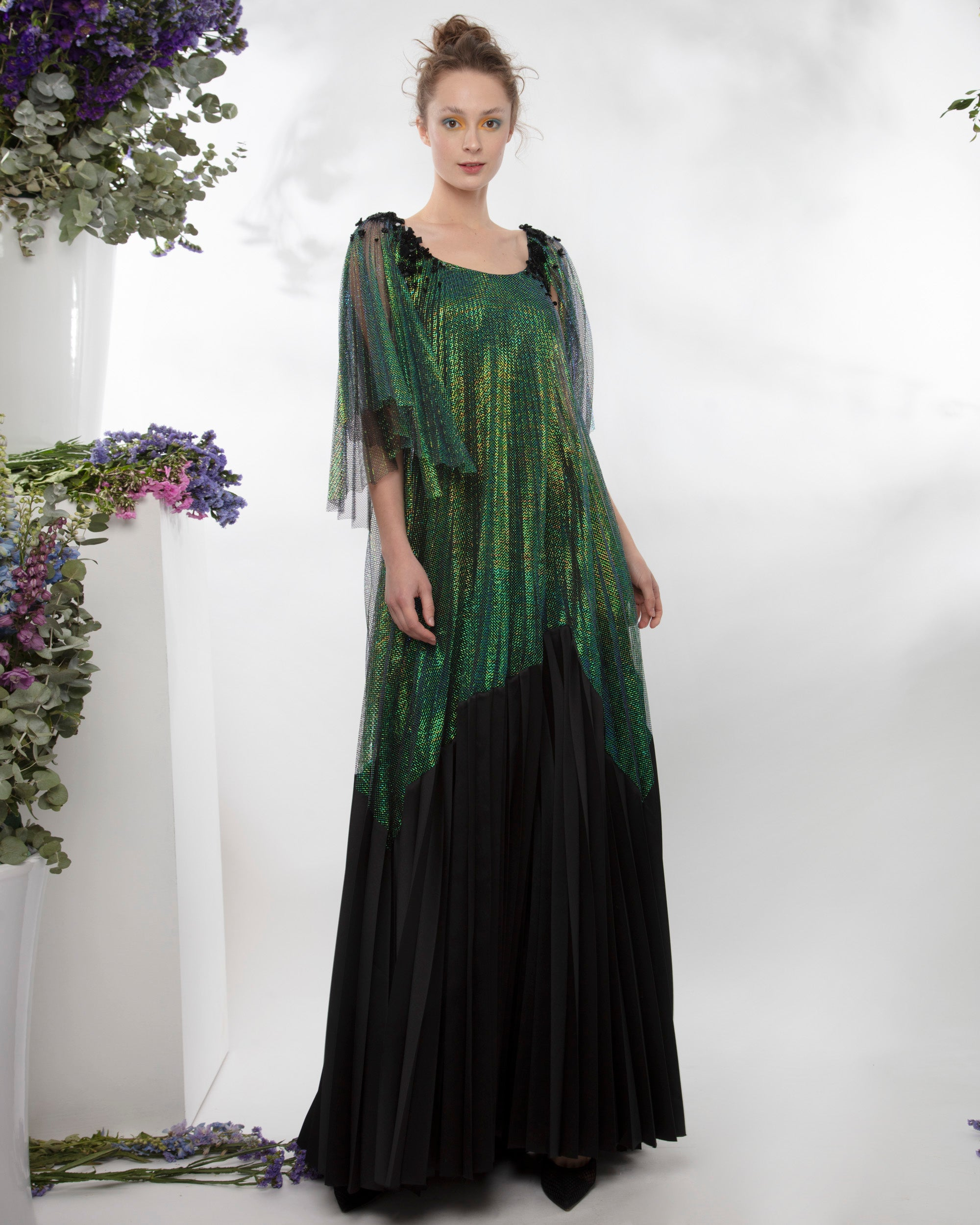 Pleated Long Dress With Detachable Belt