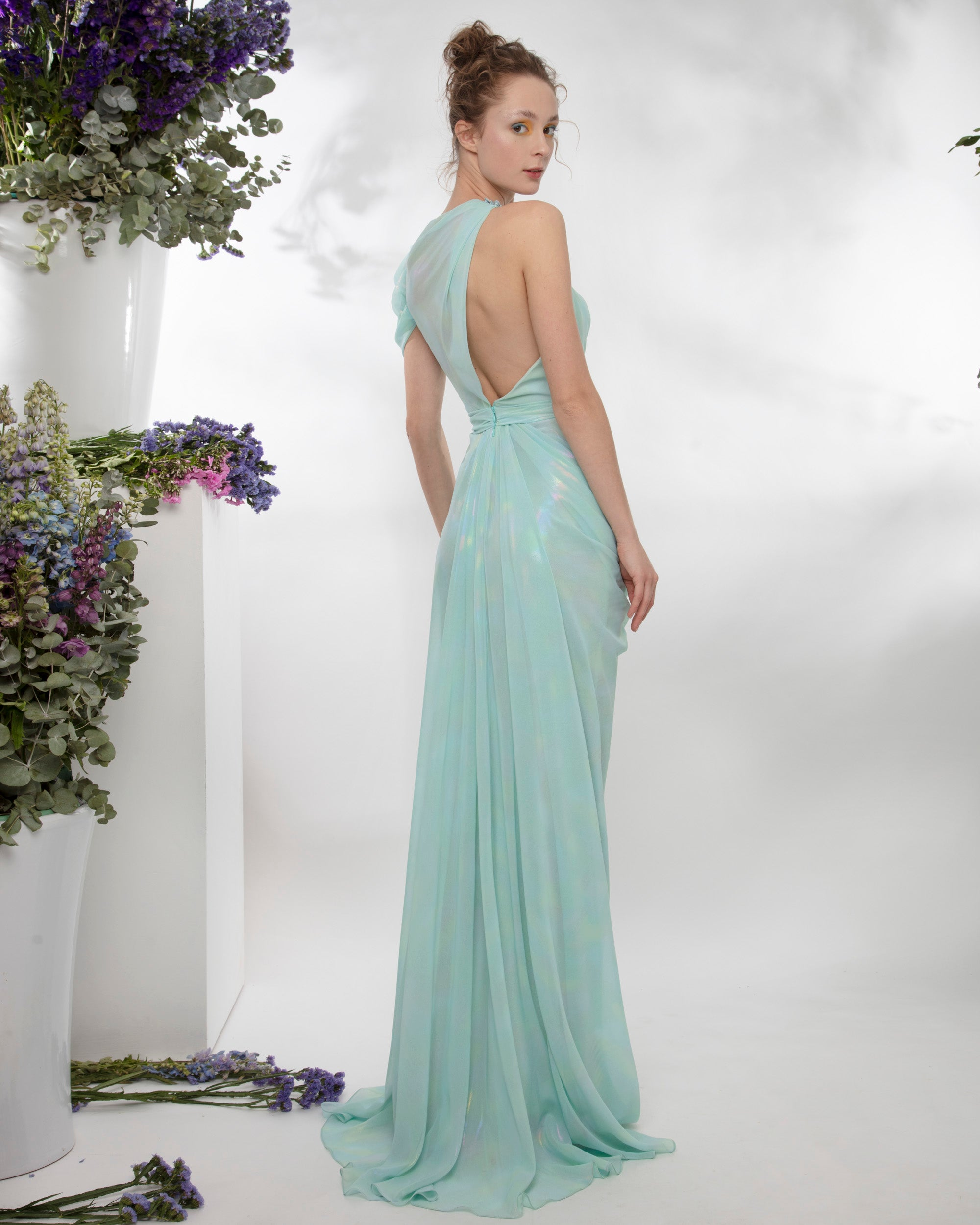 Iridescent draped long dress