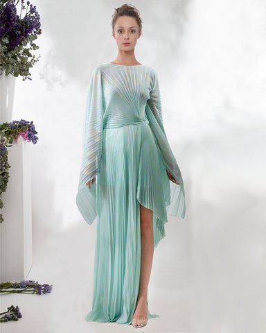 Pleated Asymmetrical Long Dress