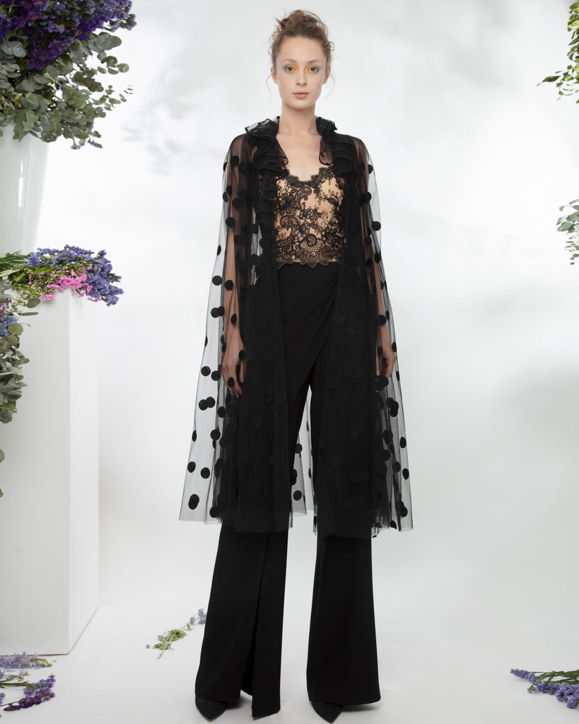 Lace Corset With Polka Dots Cape Paired With Crepe Pants.
