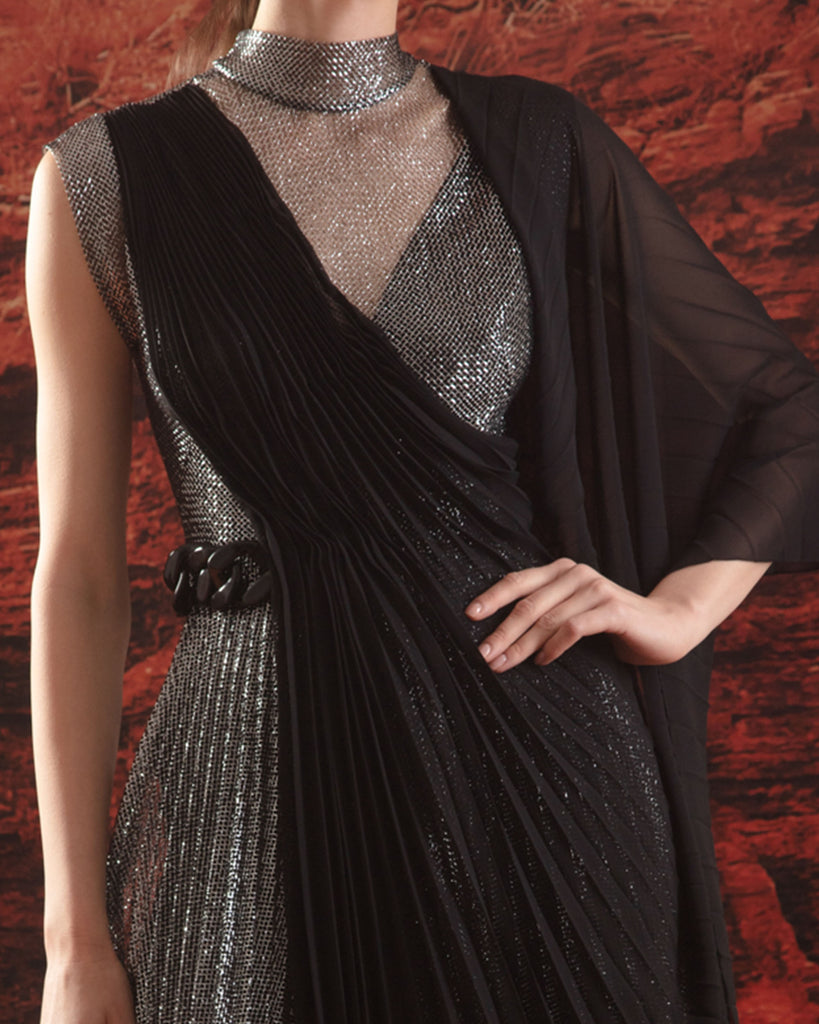 Pleated Dress With Shawl Detail
