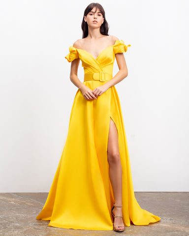 Off-Shoulder Mikado Long Dress