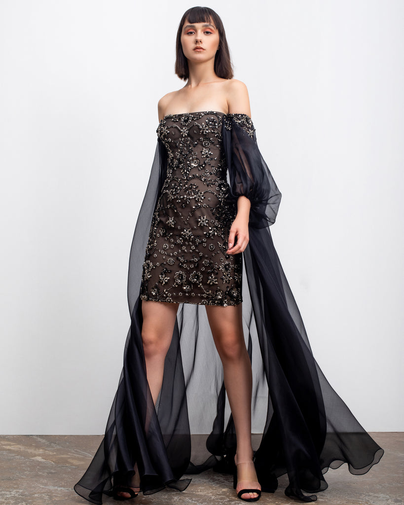 Bejeweled Short Dress with Cape