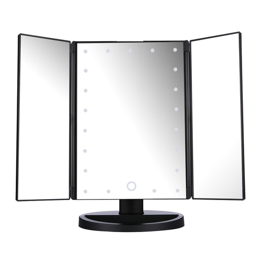 Tri-fold Touch Screen 21pcs LEDs Table Makeup Mirror
