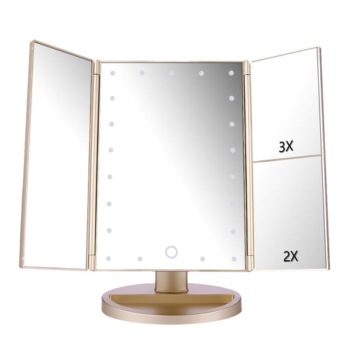 Tri-fold 21pcs LEDs Magnification Cosmetic Mirror with USB Cable