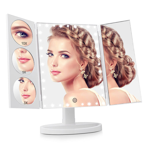 EASEHOLD Tri-Fold LED Lighted Makeup Mirror with 35 LEDs