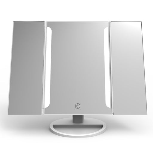 Tri-Fold LED Tabletop Makeup Mirror with 16 LEDs & USB Charging