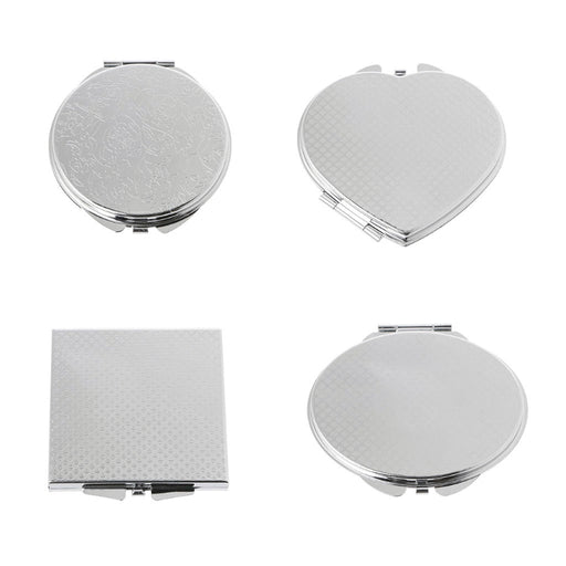 Hand Pocket Folded-Side Stainless Steel Makeup Mirror