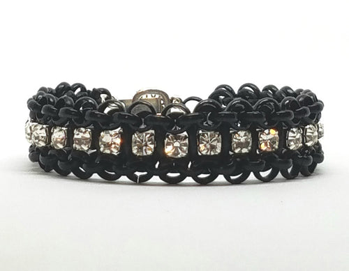Bling, Chain and Leather Bracelet