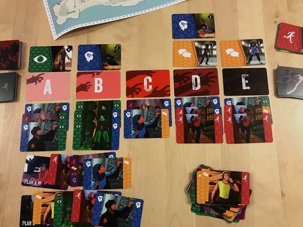 A game midway with all the cards and map displayed