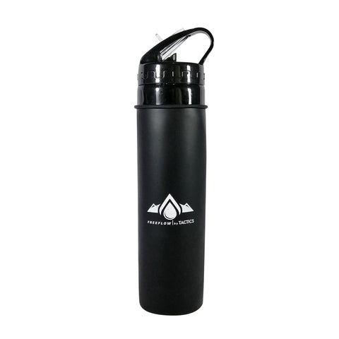 Tactics Outdoor Collapsible Silicone Squeeze Foldable Sports Water Bottle-Black