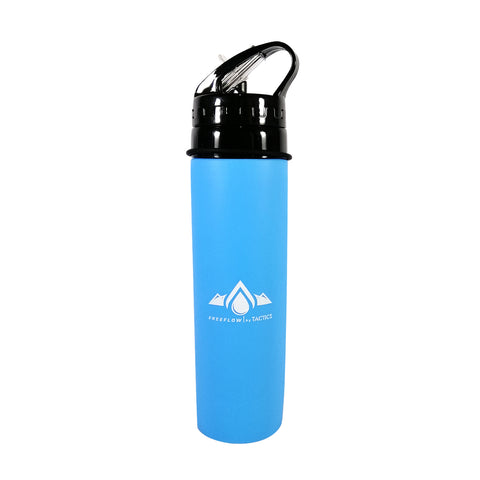 Tactics Outdoor Collapsible Silicone Squeeze Foldable Sports Water Bottle-Blue