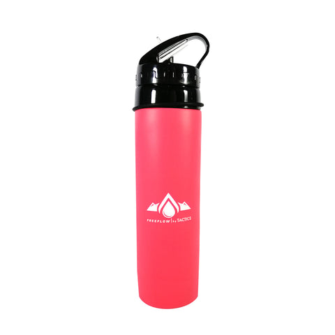 Tactics Outdoor Collapsible Silicone Squeeze Foldable Sports Water Bottle-Coral