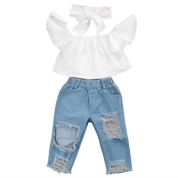 Girls Off shoulder Crop Tops White+ Hole Denim Pant Jean Headband 3PCS