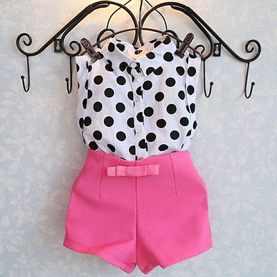 2pcs  Polka Dot T shirt Tops  Pink Pants Shorts