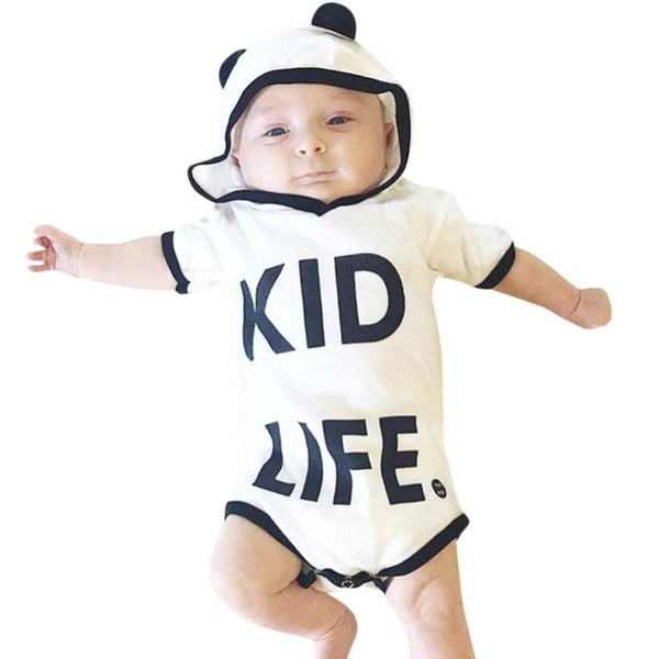 Kid Life Letter Print Rompers Baby Boy