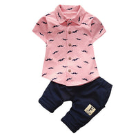 Lovely beard Lapel Shirt+Pants 2 Pcs Infant  Sets