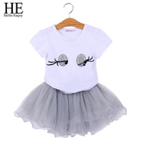 Kids Short Sleeves White PrintEyes Pearl Top+Gauze skirt Suit Sets