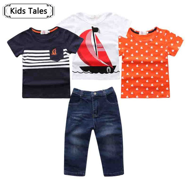 4 pcs. With Short Sleeve + Denim Pants
