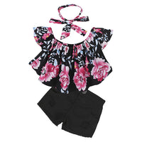 18M-6T Girls Set Headband+Tops+Shorts 3Pcs