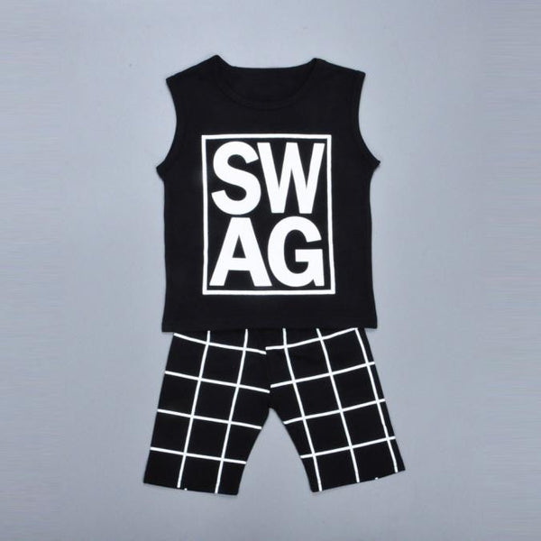 Boys Letter Print T-shirt +Shorts Pants