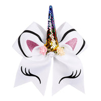 "7"" Unicorn Sequin Cheer Bows"