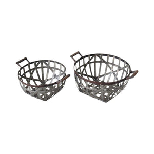 Plaited metal basket
