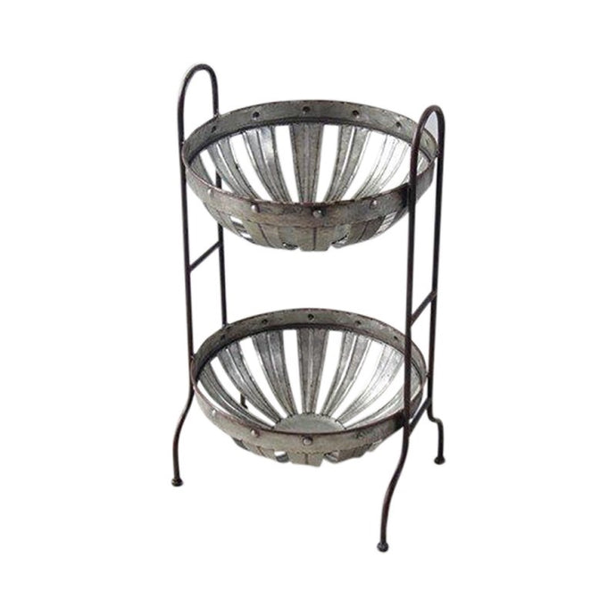 Two tiered metal fruit bowl
