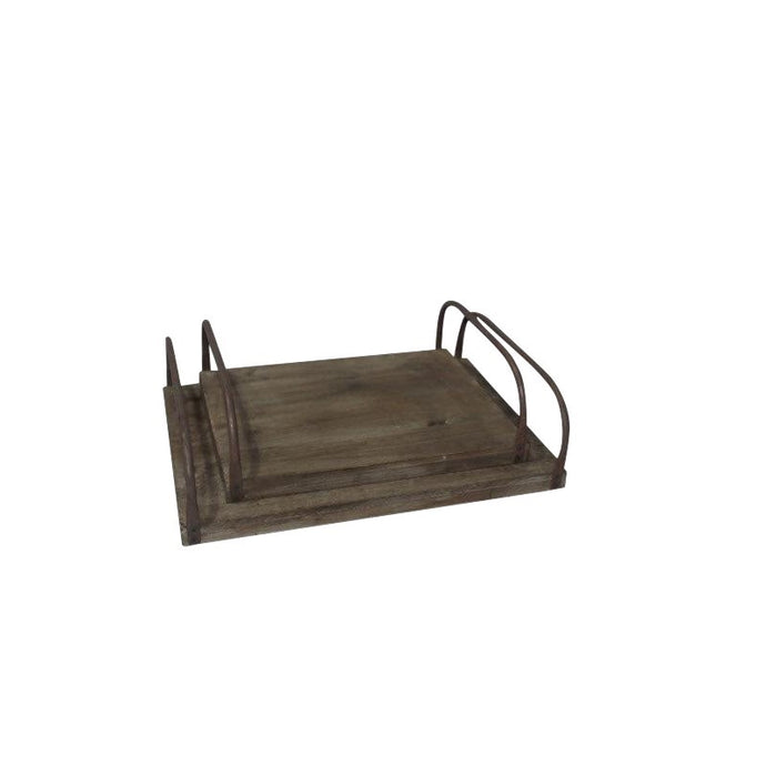 Rustic tray with metal handle