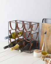 Load image into Gallery viewer, Leather 9 bottle wine rack