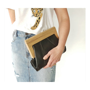 Timber and leather clutch