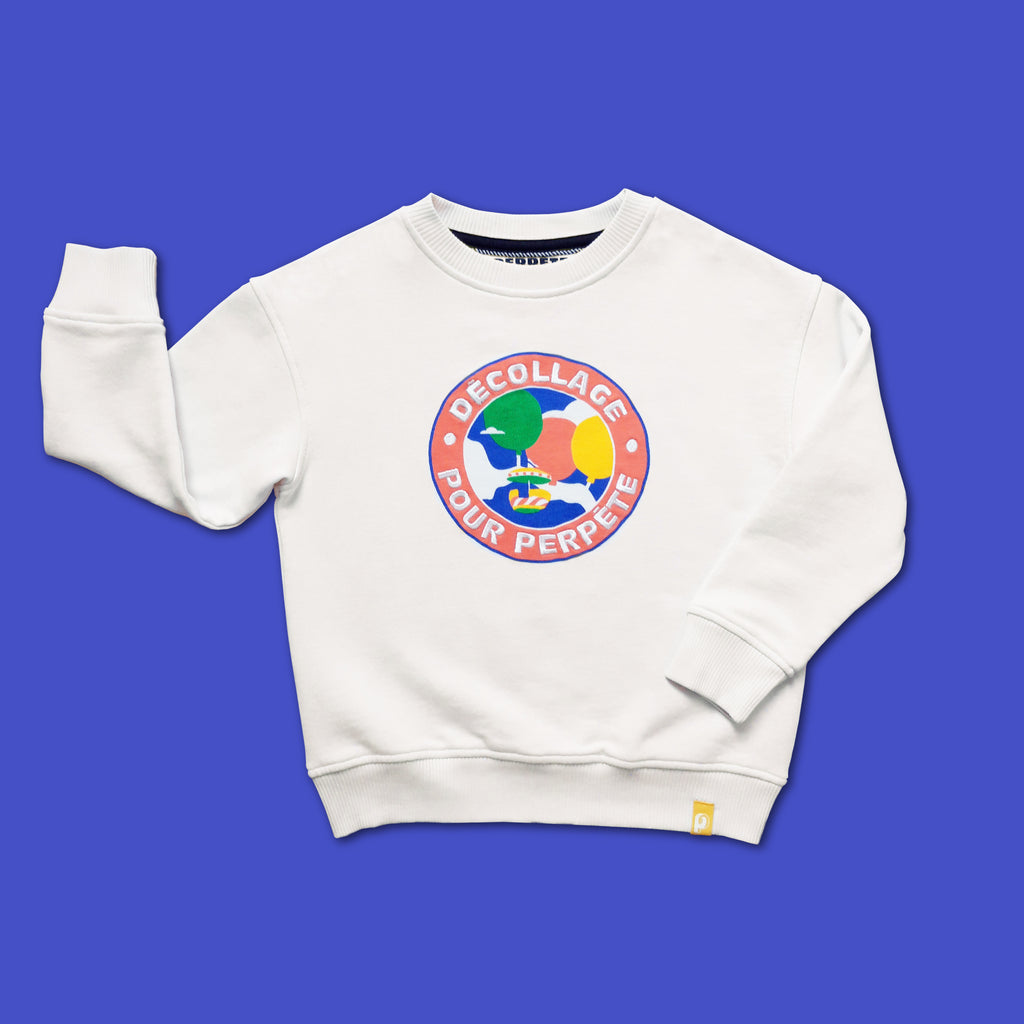 sweat enfant Flying Perpète, mixte en coton bio