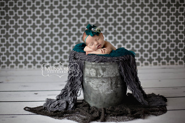 Beautiful Photo Props gray ruffle, gray fishnet wrap and dark teal lace wrap.