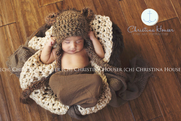 Beautiful Photo Props barley bear hat, cream blanket and brown cheesecloth wrap.