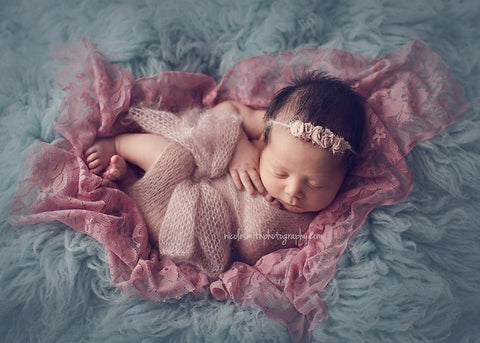 Pink Carnation Stretch Lace Baby Wrap