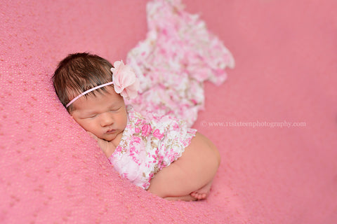 Pink Floral Stretch Ruffle Baby Wrap