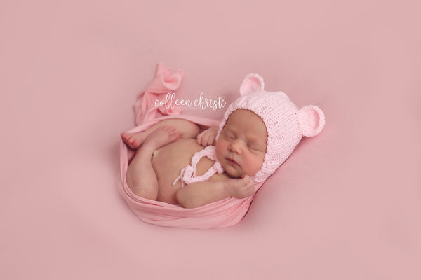 SET Pink Newborn Teddy Bear Hat and Stuffed Bear Plush - Beautiful Photo Props