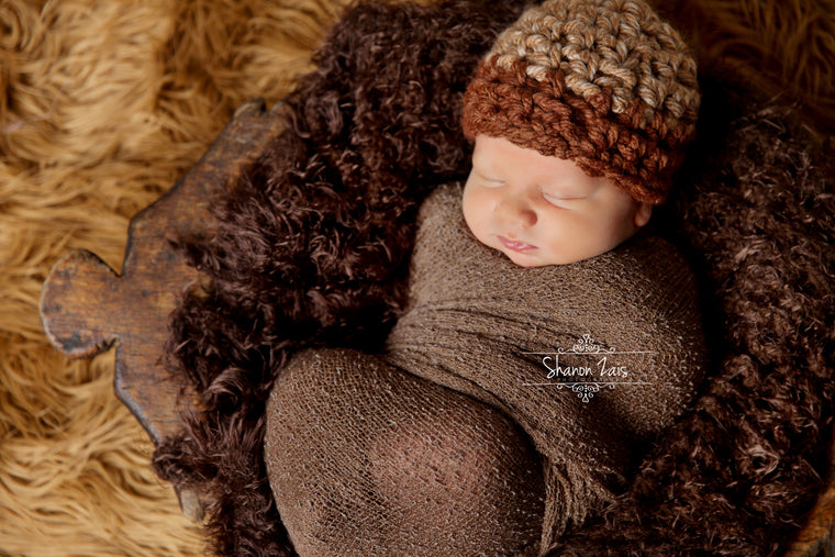 SET Beige Brown Newborn Hat & Stretch Knit Wrap-Beautiful Photo Props