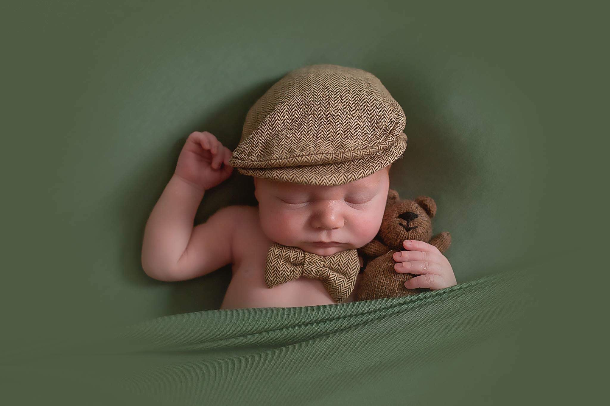 d2664a91b Brown Newborn Newsboy Hat and Bowtie Set