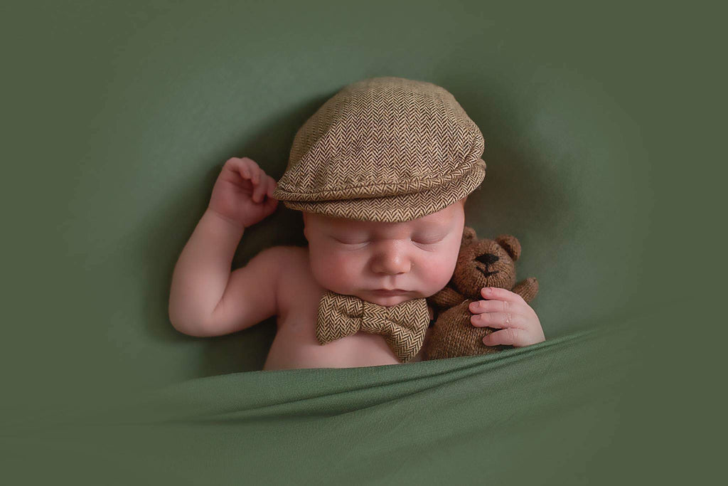 Brown Newborn Newsboy Hat and Bowtie Set