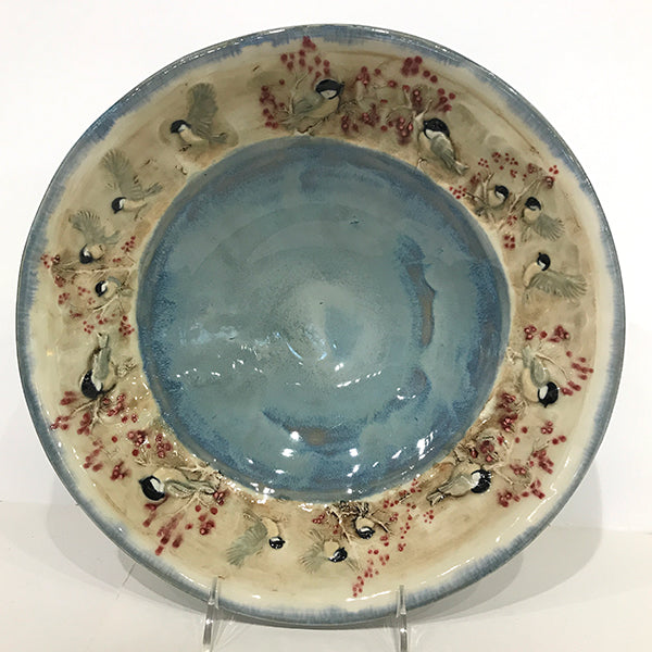 Medium bowl with blue glaze, thistle and honeybee