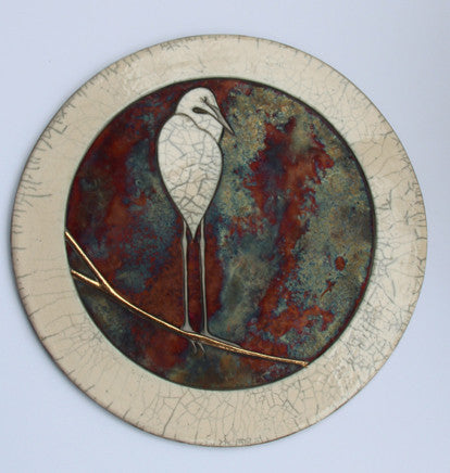 Egret III Border - Raku Wall Plaque